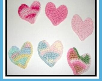6 Crocheted Hearts