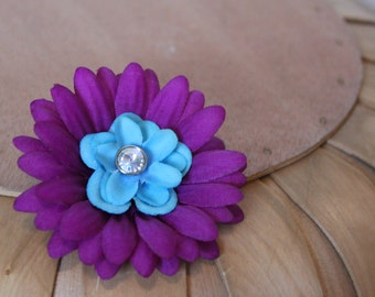 Purple and Teal Flower Hair Clip