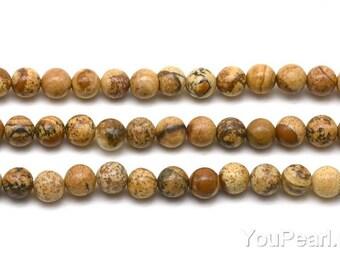 Picture jasper beads, 4mm round, semi precious stone beads, natural jasper beads, gemstone beads, yellow picture jasper strand, JSP2010