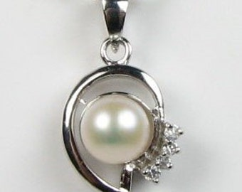 White pearls pendant, cultured freshwater pearls, crystal pearl pendant, genuine sterling 925 silver pearl necklace, 7-8mm, F2045-WP