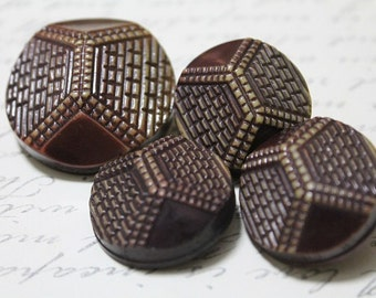 Antique coat buttons-Vintage brown buttons-raised buttons-old style collectible buttons