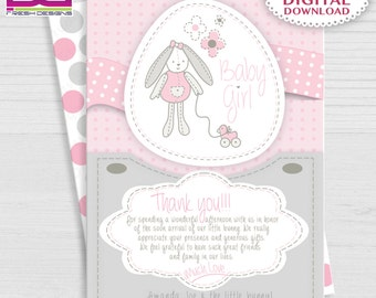 Bunny Baby Shower Thank You Girl, Baby Shower Thank you Girl , Sweet Baby Shower Thank You Card, Pink and Gray Baby Shower Thank you Card