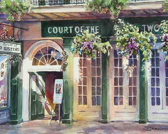 Court of Court of Two Sisters, historic architecture New Orleans French Quarter  print of watercolor painting painting