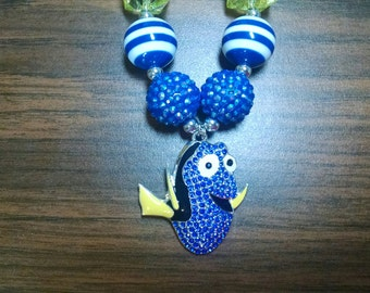 Blue Tang Dory Inspired Toddler Bubblegum Necklace.  Finding Nemo.  Finding Dory.  Rhinestone Pendant Bubblegum Necklace