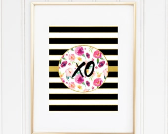 XO print, Printable wall art, Kate Spade Inspired, chic print, Floral black stripes, trendy, pink, party decor, planner DIY, office decor