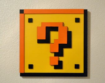 3D Super Mario 8 bit Question Block