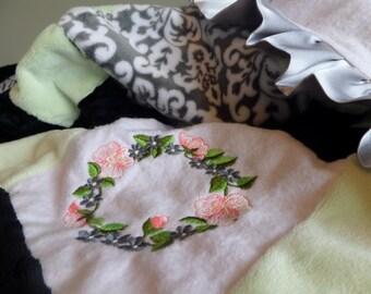 Clearance, Girl Minky Baby Blanket, Satin Ruffle Minky Blanket, Mint Green Minky Blanket, Personalized Baby Blanket, Butterfly Baby Blanket