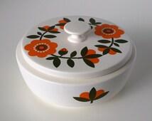 Gouda Holland Cookie Jar - Bowl with Lid - Flora Ceramic Rosa