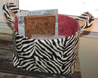 SALE>>>Medium Soft Sided Black & White Zebra Design with Red Batik Lining Decorative House Storage Tote with Handles