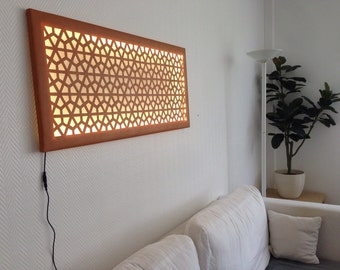 Mural wall decoration with modern geometric patterns with LED screen light lamp