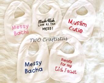 Cute Custom Bibs, baby bib, muslim baby bib, islamic bib, eid gift, muslim girl, muslim boy, islamic gifts, baby shower gift