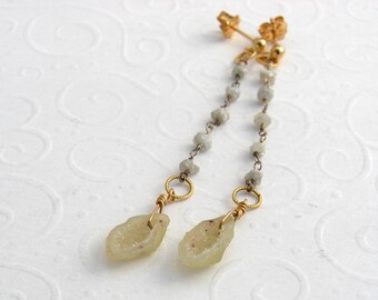 Long rough diamonds white earring with Drusenfluh, silver, goldfilled
