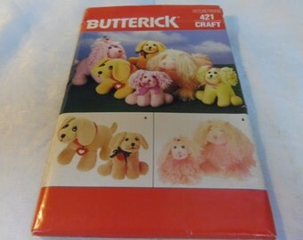 "Stuffed Toy Soft, Dogs, Adult and puppy 10"" and 8"", Uncut Pattern, Butterick Craft 421, 1986"