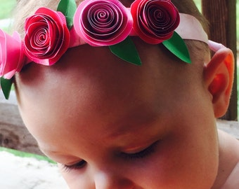 Baby paper flower crown