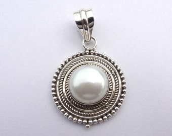 Pearl Pendant, 92.5% solid sterling silver pendant, Silver Pendant, 925 sterling silver pendant, women's pendant