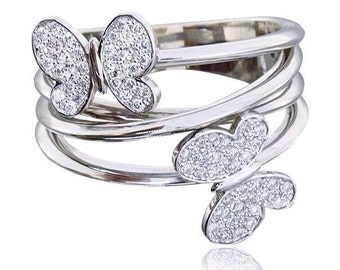 14k Gold Butterflies Ring. White gold ring. Unique ring. Butterfly ring