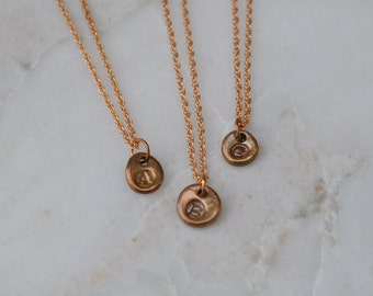 Bronze initial charm necklace