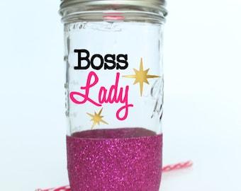 Boss Lady Glitter Mason Jar - Mason Travel Jar with Straw - Glitter Jar - Lady Boss Gift