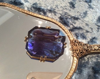 Vintage Brooch large Sapphire Blue Glass Faceted Gold Tone Claw Set