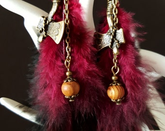 Axis, Wood & Feathers - Indian-inspired earrings