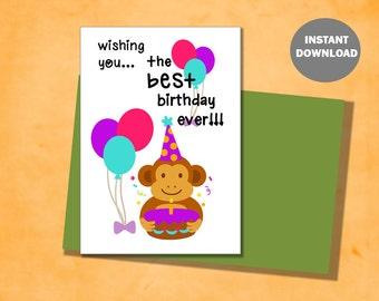 Happy Birthday Greeting Card Set - Birthday Monkey