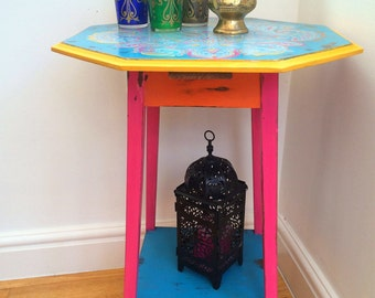 Stunning hand painted side table bohemian/Indian summer look