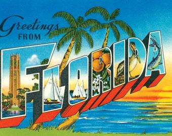 Florida, Florida Postcard, Florida Vintage Postcard, Florida Ephemera, Sunshine State, FL Postcard, Florida Download, Florida Souvenir
