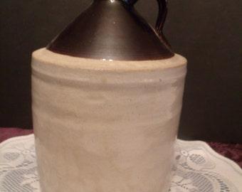 Antique Crock, Whiskey Jug, salt glaze,farmhouse decor,Pottery Crock,primitve decor, Brown and White Crock, Moonshine Jug, (626/29)