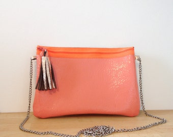 Coral leather Crossbody bag.