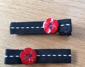 hair clips - red flower, black, white - baby girl, child