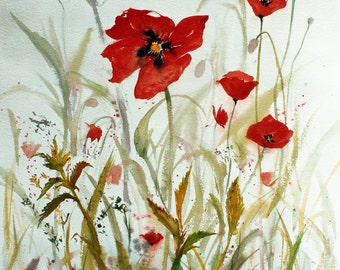 Red poppies beautiful colorful flowers in watercolor on Arches cotton paper