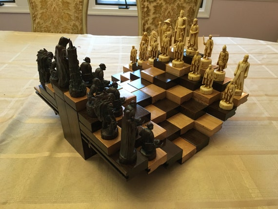 Multilevel 3d handmade wooden chessboard with chess pieces - Multilevel chess ...