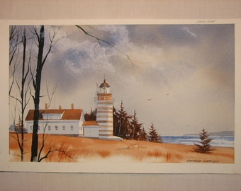 Lighthouse watercolor painting, original watercolor painting, original watercolor, lighthouse painting, beach, ocean, lake, landscape, #36