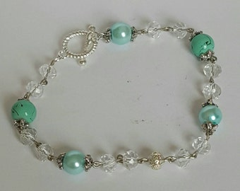 Silver and mint green beaded bracelet