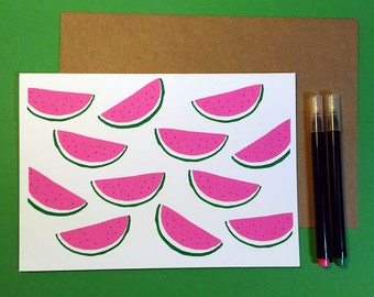Watermelon card, screenprinted card with a bright watermelon pattern.