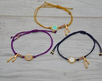 Macramé Bracelet, enamel connector bracelet, geometric bracelet, minimalistic bracelet, gold bracelet, minimal jewelry