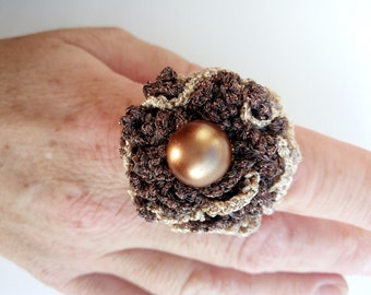 Crochet Ring Gold And Βronze Thread Βrown Beaded Carmen Crochet Ring Elegant Crochet Jewellery Vintage Crochet Ring Chain Crochet Ring