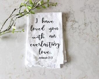Everlasting Love Tea Towel // Christian Gift // Dish Towel  // Gift for Her // Tea Towel // Kitchen Towel // Flour Sack // Towel