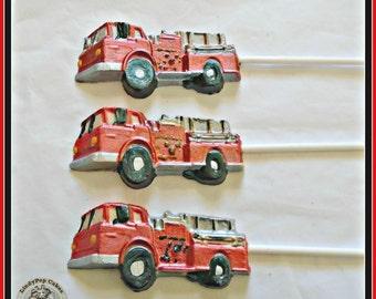 Chocolate Fire Engine Lollipops/Boys Party Favour/Fireman party/Boys Birthday/Firefighter/Fire Truck/Fireman/Fire Station/Boys Gift