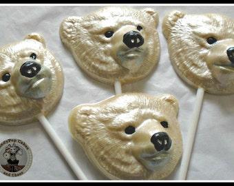 Polar Bear Gift Chocolate Lollipops/Animal Lover/White Bear Lover/North Pole/Arctic Animal/Wildlife/Snow/Ice/Winter/Kid/Women/Child Birthday