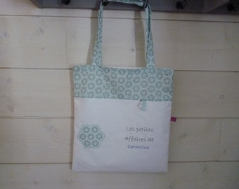 Tote bag personalized white and green