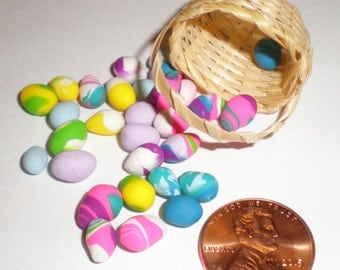 Miniature Easter Baskets With Colored Polymer Clay Easter Eggs, 1:12 Scale