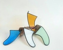 Christmas present /stocking fill/Stainedglass surfboard fin /suncatcher /H85mmxW60mm (measured along the top)