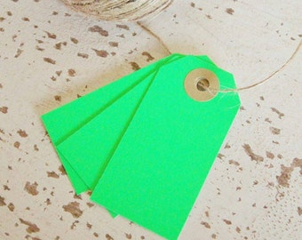 Parcel Tags Pk10 - Neon Green