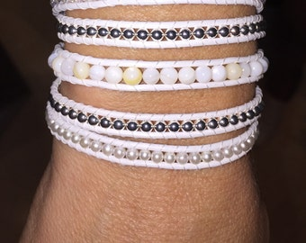 White Leather MultiBeaded Wrap Bracelet (Chan Luu Remake)