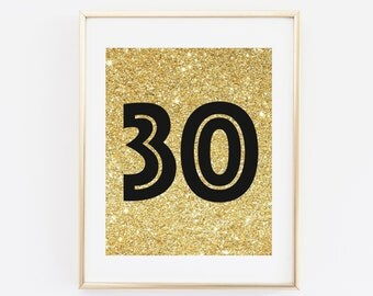 Thirty Sign, 30 years, Printable Birthday Print, 30th Birthday Decoration, Dirty Thirty, Gold and Black Banner, Printable Party Decoration