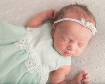 Vintage Inspired Mint green swiss dot baby girls dress with lace trim size NB-8