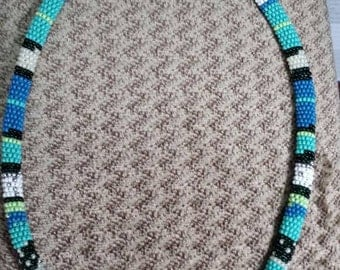 "Handmade Beaded Necklace Choker Rope Native Design,  20"" expandable to 22"". Made in USA."