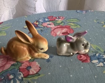 vintage set of two bunnies miniatures