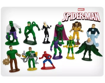 Mister A Gift Spiderman and Enemies set of 12 Plastic Cake toppers